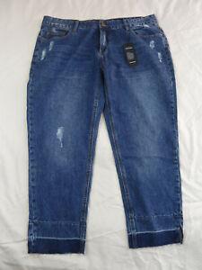 City Chic Plus Size 22 Distressed BOYFRIEND Crop Denim Jeans Blue Ladies