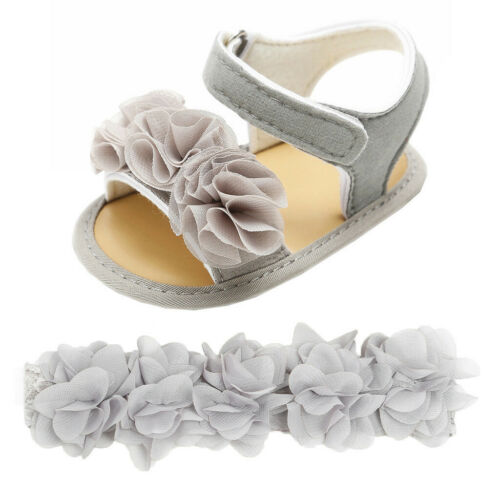 Newborn Infant Baby Girl Boy Hairband+Flower Sequins Sandals First Walkers Shoes