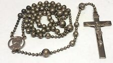 Antique WW1 Military Silver Wash Pull Chain Religious Rosary Necklace