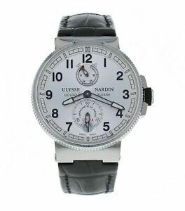 Ulysse-Nardin-Marine-Chronometer-Black-Alligator-Leather-Men-039-s-Watch-1183-126-61