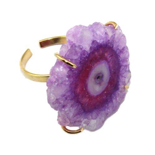 Fleur naturelle solaire DRUZY QUARTZ or Miklós Prong réglable ring stone BIJOUX