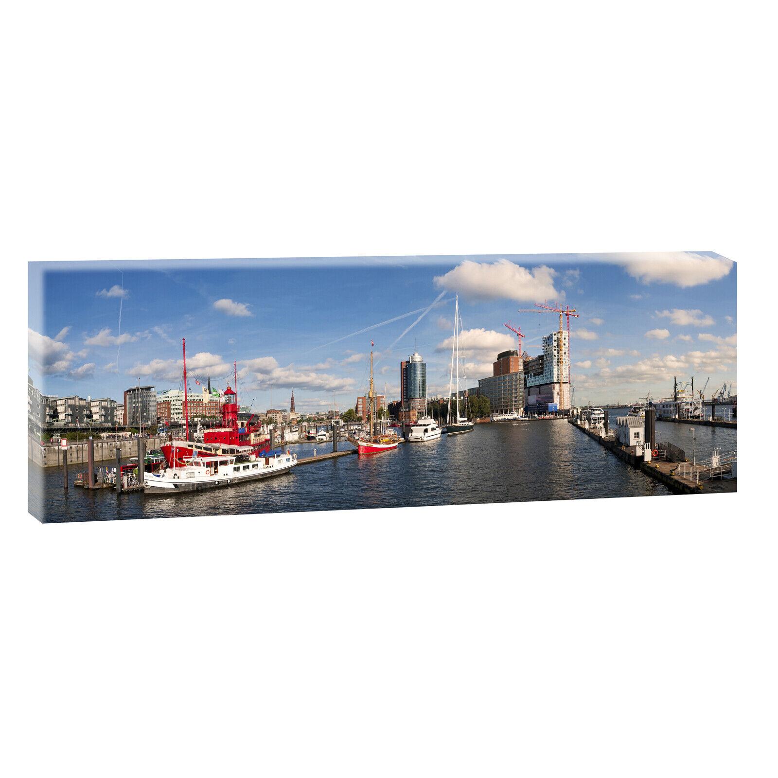 Hamburg Hafenpanorama sw Bilder  Keilrahmen Poster Leinwand XXL 120 cm*40 cm 496