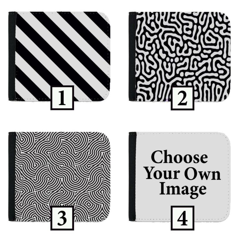 Black And White Patterned Wallet Design Wallets Purse Folding Leather Mens Wa01