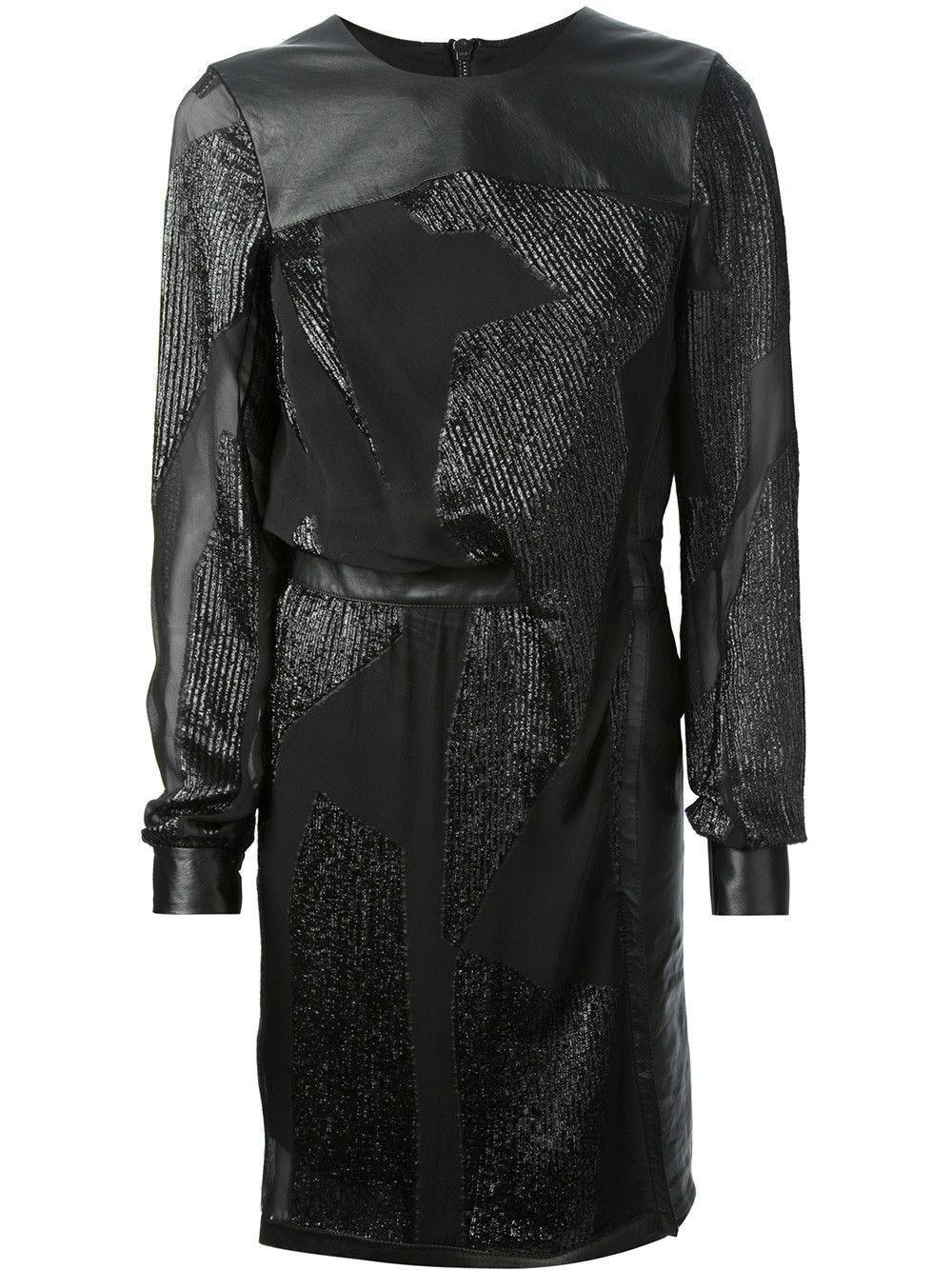 Helmut Lang Eros Füllung Coupe Schier Seide Seide Seide und Leder Metallisch Kleid ece382