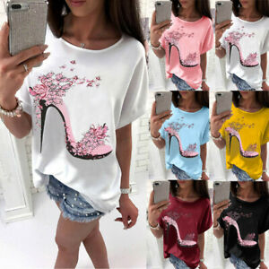 Womens-Short-Sleeve-Tops-Summer-Beach-Ladies-Casual-Loose-Blouse-Top-T-Shirt-AB