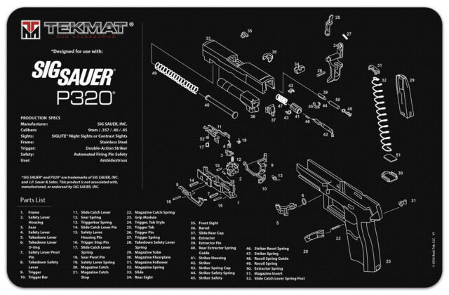 Tekmat For Sig Sauer P320 Armorers Gun Cleaning Bench Mat on pa-63 schematic, buck knife schematic, p m schematic, xds schematic, springfield xd schematic, glock schematic, ak-47 schematic, springfield 9mm schematic,