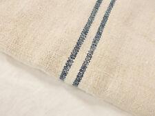 Vtg Antique INDIGO BLUE STRIPE Patched HEMP LINEN Nubby FEEDSACK GRAIN BAG 21x47