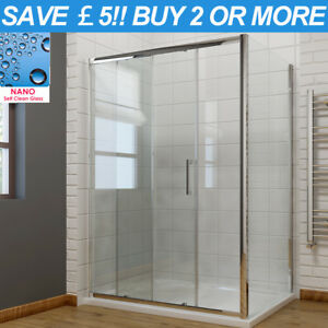 8mm Shower Enclosure Sliding Door Cubicle Side Panel Self Clean Glass Stone Tray