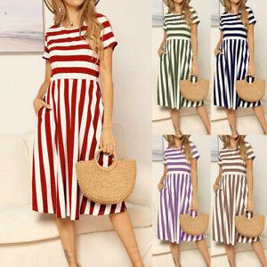 Women-Fashion-Short-Sleeve-Striped-Print-Pockets-Casual-Swing-Midi-Dress-DZ