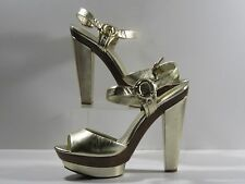 Jessica Simpson 'Nutella' Platinum Leather Platform Sandals w/Harness Detail 10M