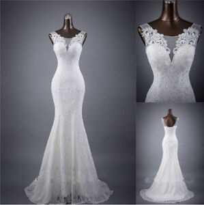 Image Is Loading White Ivory Lace Mermaid Wedding Dress Bridal Gown