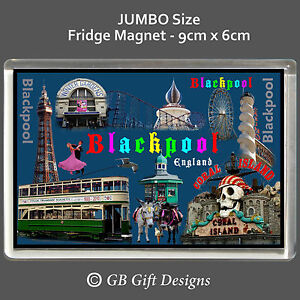 Blackpool-Pier-Tower-Tram-Pleasure-Beach-Jumbo-Novelty-Fridge-Magnet