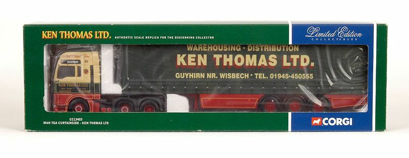CORGI moderno Heavy Haulage CC13403 MAN TGA CURTAINSIDE KEN Thomas SCALA 1 50