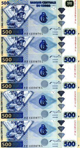 R 2002 P-96A UNC 5 x 500 Francs LOT Congo D