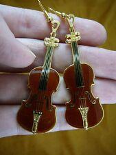 (M14-D) STRADIVARIUS violin EARRINGS 24k gold plate JEWELRY I love music concert