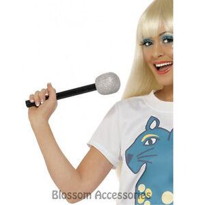 A471 Silver Glitter Toy Microphone 70s 80s Disco Pop Rock Star Karaoke