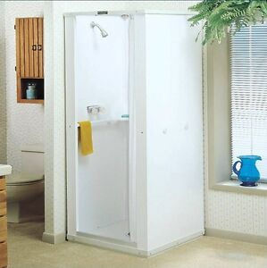 Shower enclosure with base stall kit walk in standing bathroom white 32x32x75 ebay - Walk in shower base kit ...