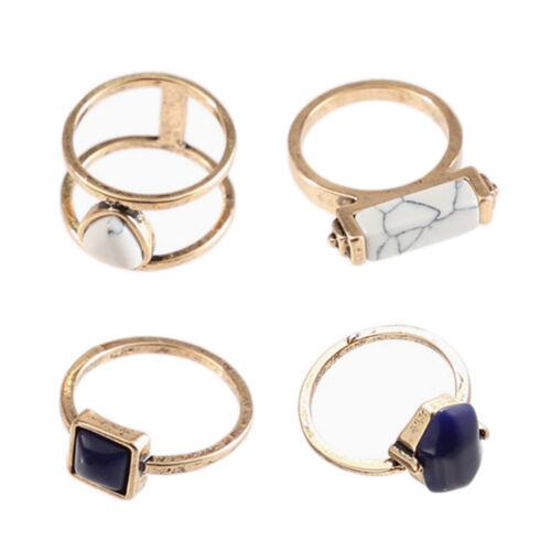 4er Pack Fashion Damenringe Set Fingerring Retro Doppelring Steinring als