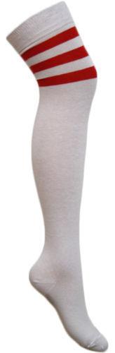 Onorevoli Ragazze CALCIO a righe sopra il ginocchio alto coscia ARBITRO Stripe Long socks