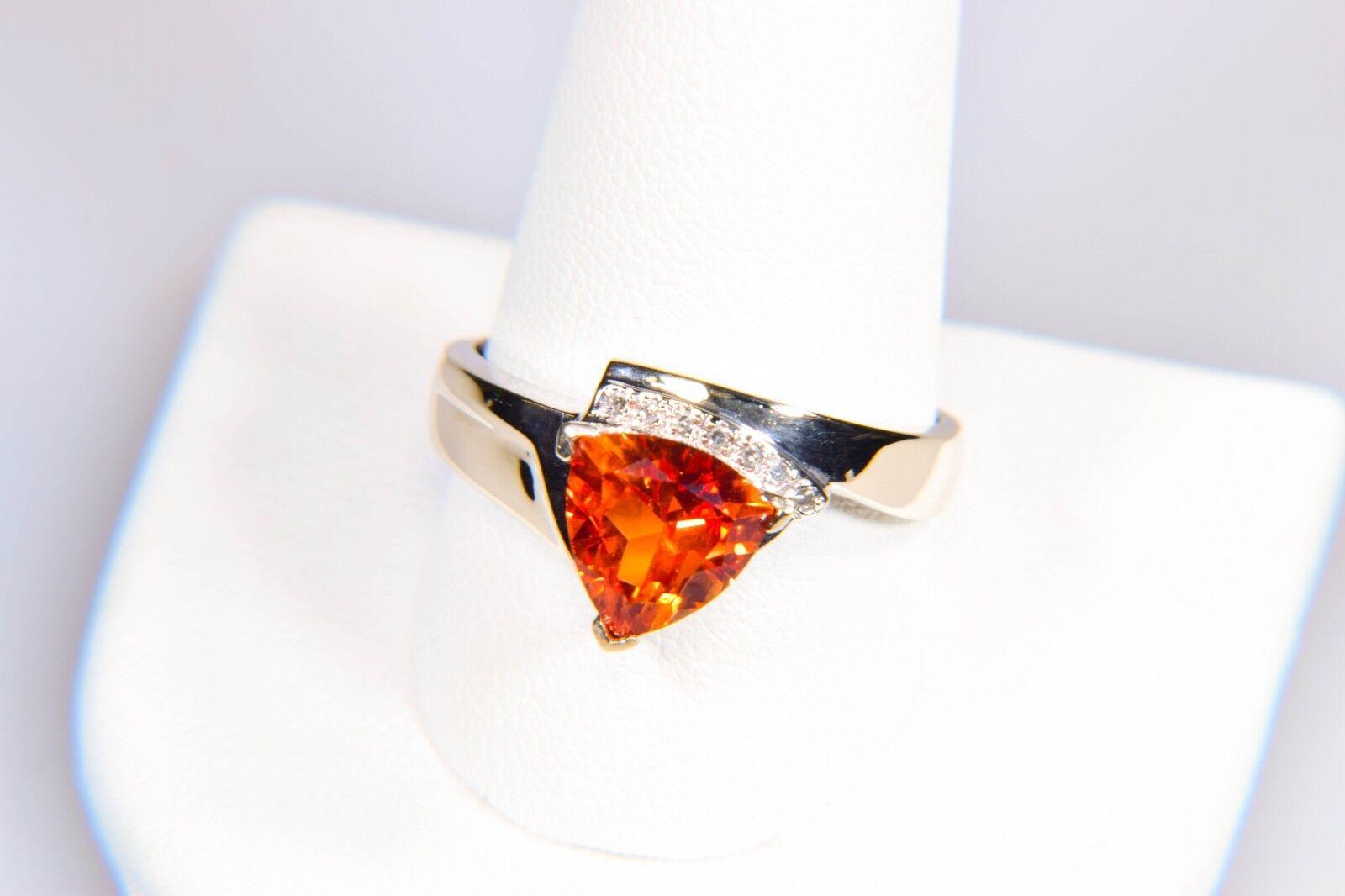 14K gold orange Sapphire Diamond Accented Ring Size 10.75 Make a Statement