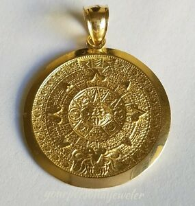 Solid real 14k yellow gold aztec sun calendar pendant charm 135 image is loading solid real 14k yellow gold aztec sun calendar aloadofball Image collections