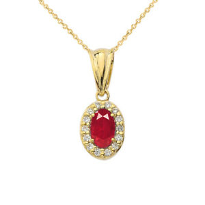 Solid-Gold-Diamond-amp-Genuine-Ruby-Pendant-Necklace-Yellow-White-Rose