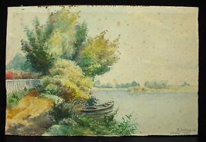 Edmond-Beilauffaden-Xx-Vichy-1925-dem-See-D-039-Allier-Zeichnung-Original-27-CM