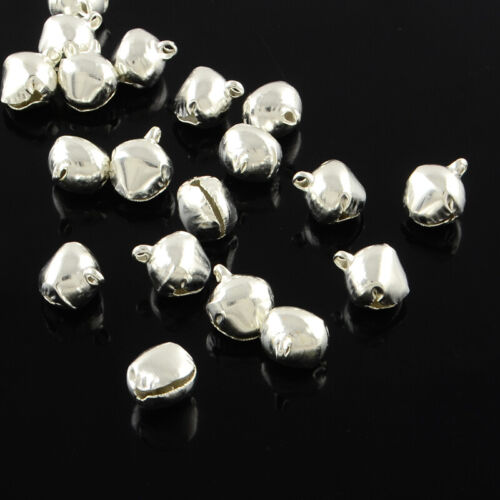 Bulk Charms Aluminum Bell Charms Tiny Miniature Jingle Bells Shiny Silver 100pcs