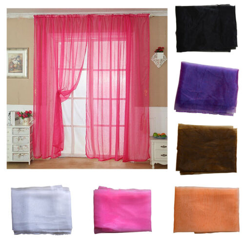 Solid Color Tulle Door Window Curtain Drape Panel Sheer Scarf Valance Home Decor