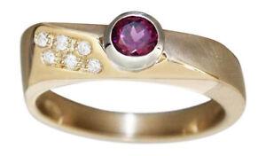 Ring Gold 585 Granat u 6 Brillanten Damen RW 59 Diamantring massiv 14 K Goldring