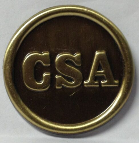 C.S.A PEWTER FINISH OVAL LAPEL PIN HAT TAC NEW