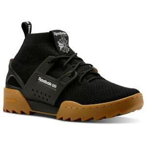 Reebok-Classics-Men-039-s-Black-Workout-Ultraknit-Ripple-Shoes-Boots-CN4298