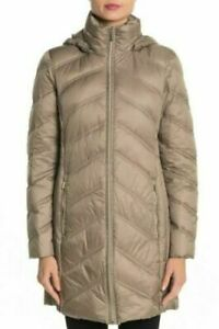 Michael-Kors-Packable-Hooded-Zip-Down-Puffer-Jacket-Taupe-XL-NEW