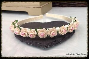 2-TONE ROSE ALICE HAIR BAND*wedding*f<wbr/>lowergirl*brid<wbr/>esmaid*hair accessories*bo<wbr/>ho