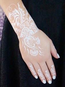 Flash-Tattoos-WEISS-Spitze-Hand-Finger-Henna-Art-Fake-Tattoo-Einmal-Tattoos-W334