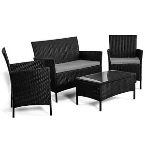 Salotto da giardino in rattan set divano x esterno con - Cuscini per poltrone da giardino ...