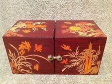 Oriental Wooden Jewelry Box Decorative  4 Velvet Bottomed Drawers Hook Closure