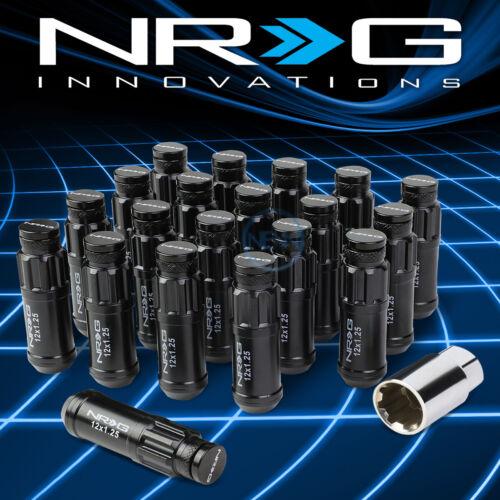 NRG 20pcs M12x1.25 Anodized 66mm Wheel Rim Locking Lug Nuts+Dust Cover+Key Black