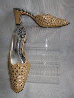 WOMENS IRREGULAR CHOICE Haze Gold Studded Mules/Slip On Sandals