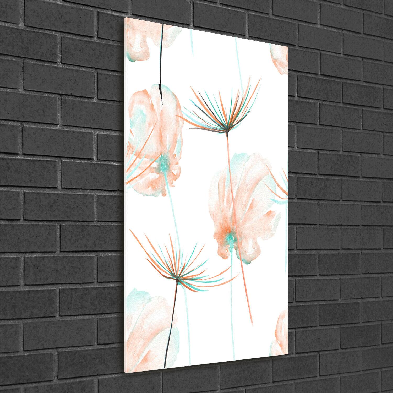 Wand-Bild Kunstdruck aus Hart-Glas Hochformat 50x100 WildBlaumen