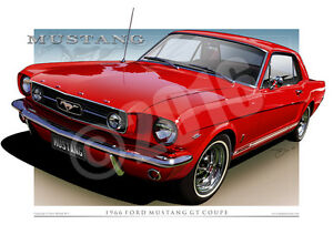 1966 Ford Mustang Gt Coupe Prints Available In 17 Colours Mustang