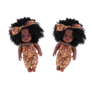 2pcs Lifelike Vinyl Baby Doll African Girl Newborn Infant Doll in Clothes