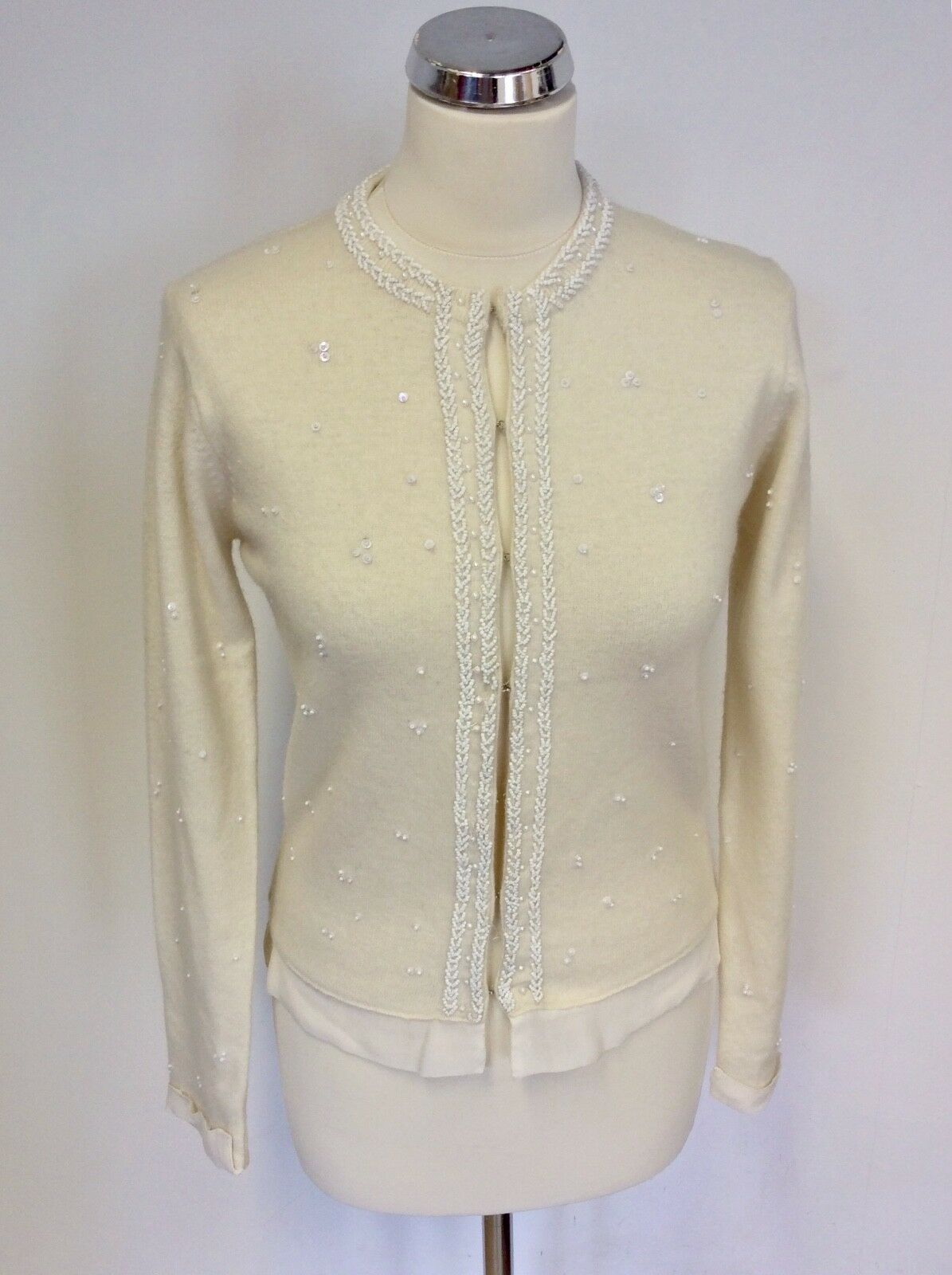 BIRGER ET MIKKELSEN CREAM  LAMBSWOOL BLEND BEADED & SEQUINED CARDIGAN SIZE M