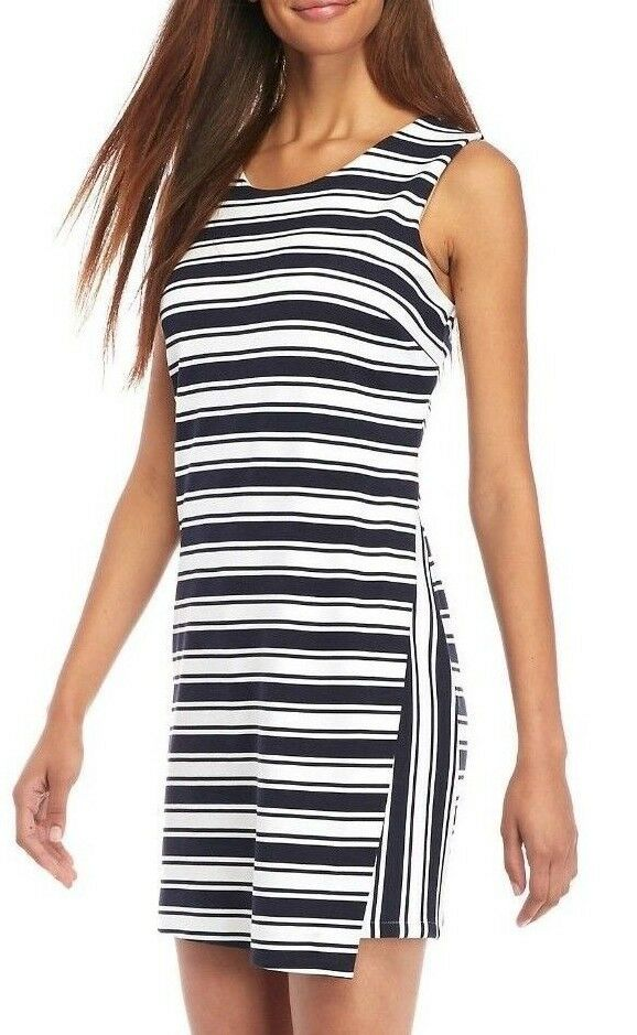 Crown & Ivy Navy White Striped Sleeveless Stretch Ponte Knit Romper
