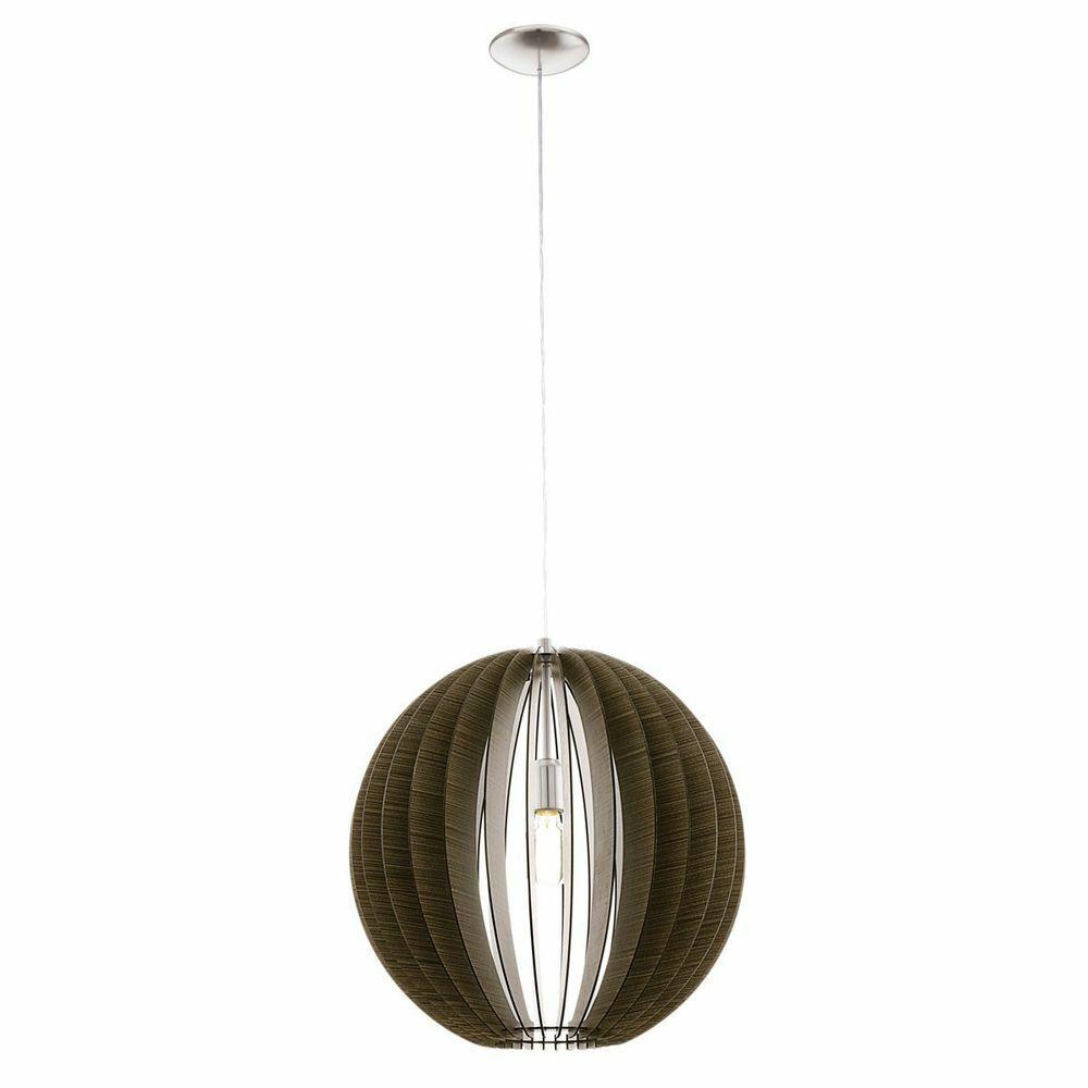 EGLO 94636 Cossano Lampadario acciaio al nichel-matt legno Marroneee scuro
