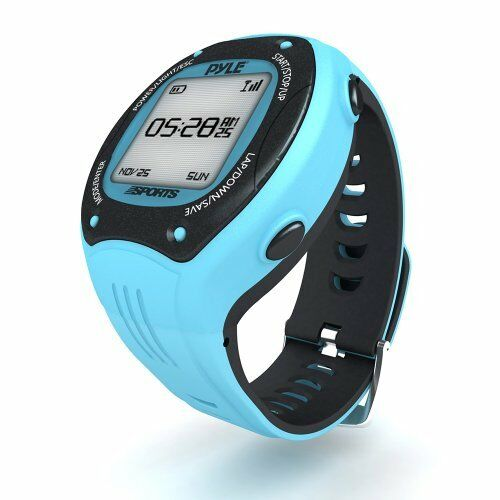Pyle PSGP310BL GPS Watch Maps Route & Records It - Measures Pace Speed Distance