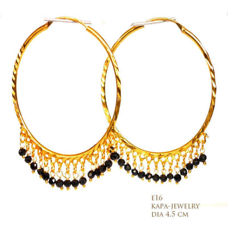 New 18ct Gold Earrings Asian Hoop Goldplated Large Earrings