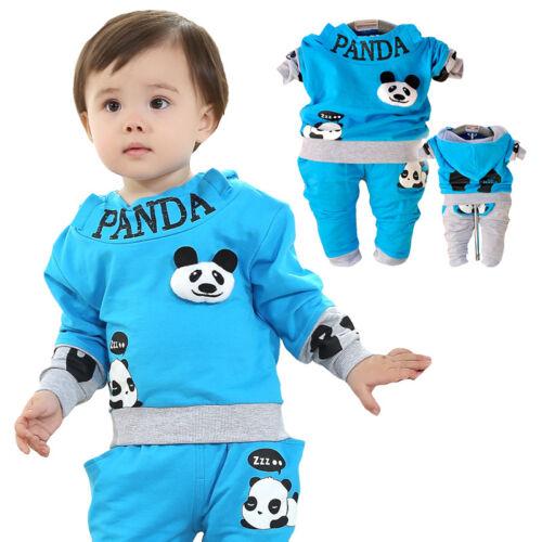Bebé//Niño 2PCs Conjuntos de Ropa Deporte Chándal Panda Elaborado Vestido Talla 1-3 años