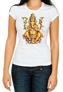 Hindu-Ganesha-etnic-Woman-white-3-4-short-sleeve-cotton-T-Shirt