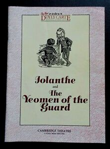 Iolanthe & The Yeomen Of The Guard programme D'Oyly Carte Cambridge Theatre 1988